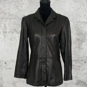 PRESTON & YORK Black Leather Coat Small